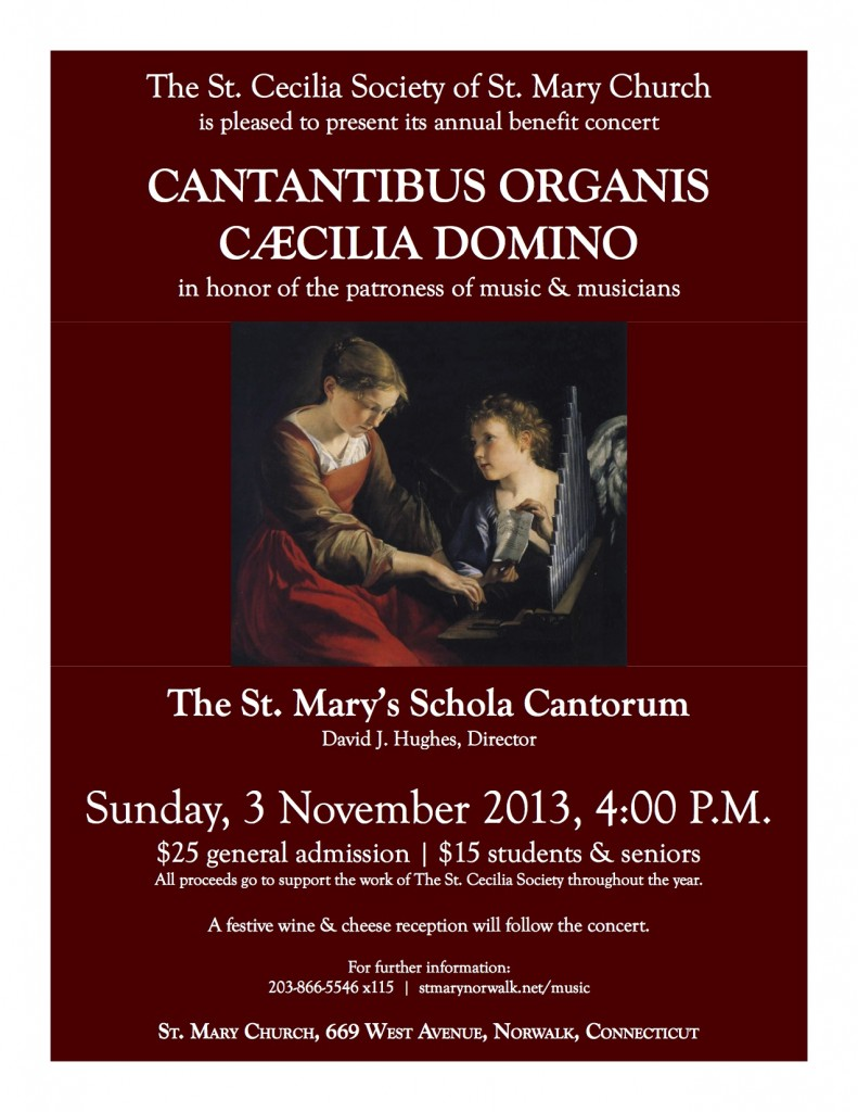 St. Cecilia's Day concert poster - 3 November 2013