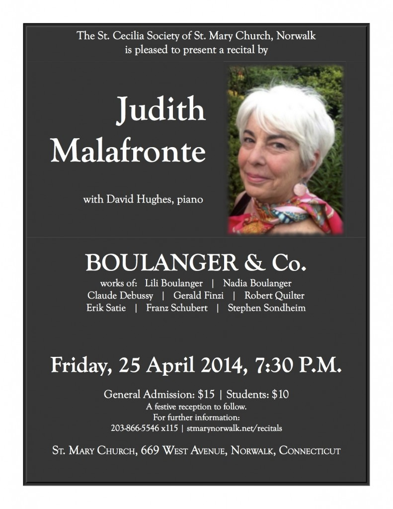 Judy Malafronte recital - 25 April 2014