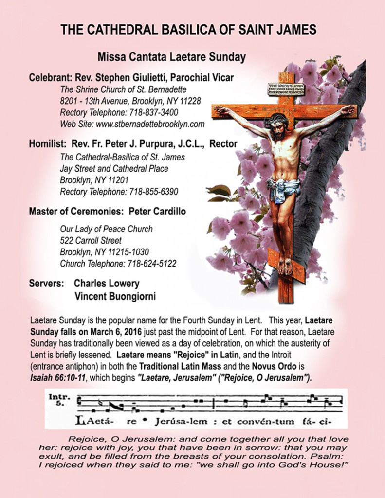 Revised LAETARE SUNDAY PROGRAM Latin Traditional High Mass at St. James Cathedral-2
