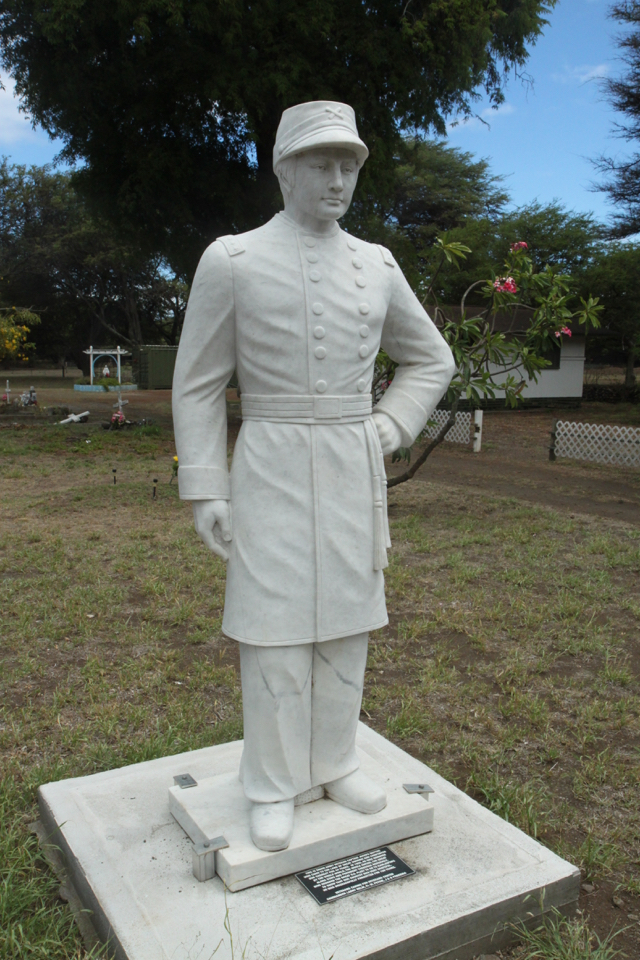 Brother Joseph Dutton, on the grounds of St. Joseph Church, Molokai